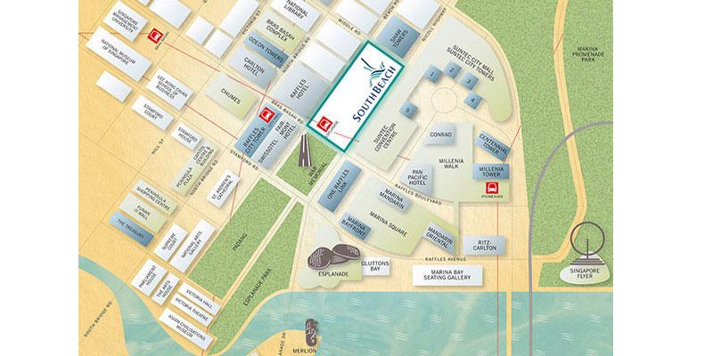 newlaunch.sg south beach development by cdl locationmap